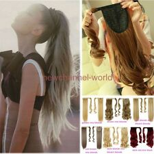 Women Long Wrap Around Ponytails Clip in Ponytail Hair Extension Real as Human