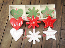 Gisela Graham Red White Green Star Heart Snowflake Christmas Tree Decoration