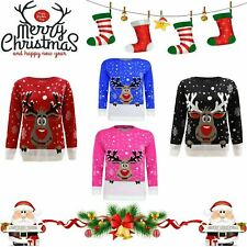 Boys Girls Childrens Christmas Kids Xmas Novelty Winter Sweater Retro Jumper TOP