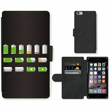 Phone Card Slot PU Leather Wallet Case For Apple iPhone Battery Level Vector Set