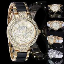 Luxury Fashion Women Ladies Crystal Bracelet Leather Analog Quartz Wrist Watch