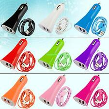 Universal Dual USB Car Charger Micro USB Charging Data Sync Cord For Cell Phone