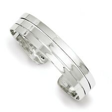 925 Sterling Silver 16mm Wide Solid, Polished and Flat Back Cuff Bracelet