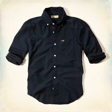NWT Hollister by Abercrombie Mens Long Sleeve Shirts Navy