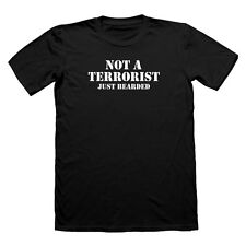 Beard Tshirt Not A Terrorist Just Bearded t shirt beards  funny t-shirt Mens
