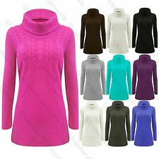 Womens Cowl Knitted Cable Jumper Ladies Aran Sweater Long Sleeves Bodycon Dress