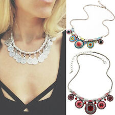 Charm Pendant Chunky Jewelry  Bib Necklace Women Statement Choker Chain Bohemia