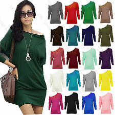 Ladies Womens PLUS SIZE One Off Shoulder Batwing Slouchy Long Sleeve Baggy Top