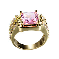 Pink Square Sapphire Man's 10Kt Yellow Gold Filled Engagement Ring Size 6-12