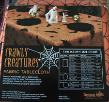 """NEW Crawly Creatures Fabric Halloween Tablecloth SIZES 60x84 60x104 70"""" Round"""