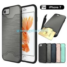New Hybrid Brushed Skin Card Slot TPU&PC Back Protective Case Cover for iPhone 7
