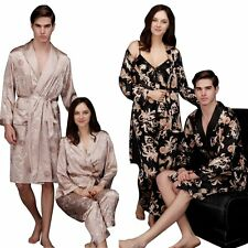 Couples Bath Robe Nightgown Kimono Lovers Imitated Silk Homewear Sleepwear Gown