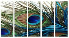 5 pieces Hand-painted Large Peacock Feather Modern Decor Canvas Manual Painting