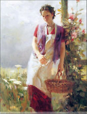 pino daeni Hand Painted Portrait Oil Painting on Canvas Flowers, beautiful woman
