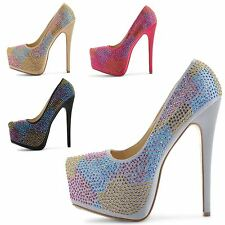 WOMENS LADIES HIGH HEEL CONCEALED PLATFORM STILETTO PARTY PUMPS COURT SHOES SIZE