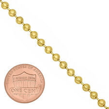 3mm Small Round 14K Yellow Gold-Plated Dog Tag Military Bead Ball Chain