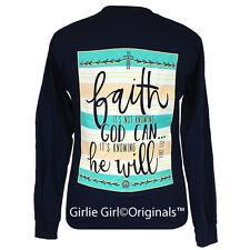 "Girlie Girl Originals ""Faith He Will"" Navy Long Sleeve Unisex Fit T-Shirt"