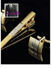 Stylish Goodly Men Silver Gold Plated Cufflinks Tie Bar Clasp Clip Set Gift S