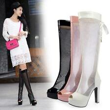 Gladiator Women Block High Heels Knee High Boots Sexy Open Toe Mesh Sandal Boots