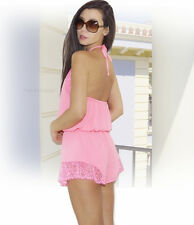 "NEW $90 ""GUESS"" Sexy Summer Outfut, Backless Pink Lace Trim Jumper Romper XS S L"
