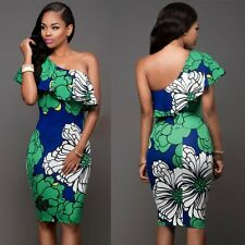 Women Sexy Summer Floral Ruffles Bodycon Cocktail Party Evening Short Mini Dress