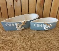 Set 2 Shabby Chic Rustic Nautical Coast Blue & White Wooden Rowing Boats Dishes
