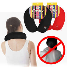 Travel Pillow Neck Massage Microbead Battery Operated Vibrating Support Red/Blac