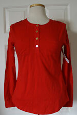 $50 NWT Womens Tommy Hilfiger Long Sleeve Pocket Henley Shirt Red XS S