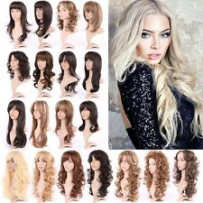 Sexy Ladies Wig Cosplay Full Wigs Fancy Dress Long Straight Curly Medium Brown