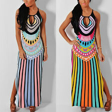 Vintage Women Sleeveless Ethnic Hollow Out Summer Beach Long Maxi Dress Dreamed