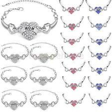 Fashion Love Heart Crystal Family Gift Alloy Link Bracelet Bangle Accessory