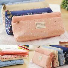 Canvas Pencil Case Cosmetic Coin Storage Pouch Zipper Bag Girl Purse 4 Colors