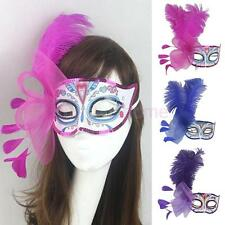 Women Feather Venetian Masquerade Eye Mask Halloween Party Lace Fancy Dress