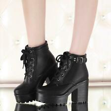 Womens Block Heel Round toe Platform Lace-up Punk Goth Creeper Ankle Boots Size