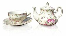 Elizabeth Park Floral Rose Chintz Tea for One Porcelain Cup, Teapot and Saucer S