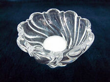 Candle Holder Bowl Mikasa Crystal Clear Glass Dish Tea Light Pattern Germany