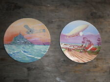 POOLE POTTERY PLATES EARLY FLIGHT ZEPPELIN AND AIRPLANE OVER CORNWALL