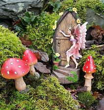 Fairy Door secret Garden Magical pixie elf Ornament Figurine Fair Mushrooms