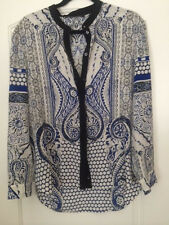 ROBERTO CAVALLI White/Blue 100% Silk Long Sleeve Button Down Blouse, Sz 44/L