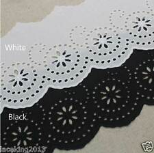 """14Yds Embroidery scalloped cotton eyelet lace trim 4.3""""(11cm) YH1482-14 laceking"""