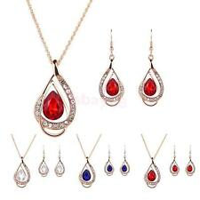 Women Teardrop Pendant Crystal Gold Plated Necklace Earring Jewelry Set Prom Hot