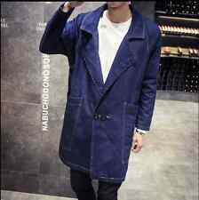 Mens Fashion Long Denim Trench Coat Lapel Collar Loose Jacket Overcoat New 44