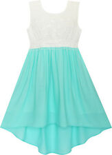 Girls Dress Hi-lo Maxi Chiffon Lace Polka Dot Necklace Party Size 7-14