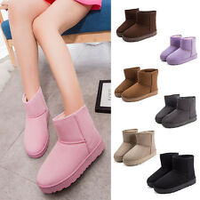 Fashion Womens Faux Fur Autumn Winter Warm Ankle Boots Casual Flat Snow Shoes