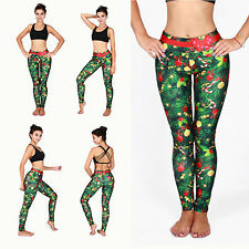 Lady Womens Skinny Christmas Print Jeggings Stretchy Leggings Pencil Tight Pants