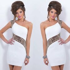 Women Sexy One Shoulder Bandage Evening Gown Party Cocktail Short Mini Dress