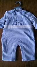 Cute Baby Dungaree Set with Stripe Cotton Top and Blue Embroidered Dungarees