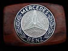 PI03127 VINTAGE 1970s **MERCEDES BENZ** AUTO CAR COMPANY WOOD BELT BUCKLE