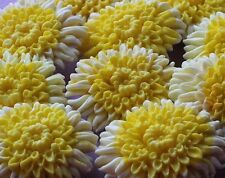 Yellow Chrysantemum Edible Sugar Cupcake Topper Birthday Wedding Cake Decoration
