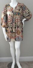 Umgee USA Boho Feather Tribal Tie Front Empire Waist Tunic Dress Plus XL 1XL 2XL